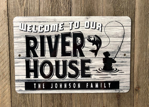 Dyenamic Art Welcome To Our River House Metal Sign - Lightweight Sign With Glossy Finish - Pre-Drilled Holes For Easy Mounting - Personalized Sign For Indoor & Outdoor - Made In USA