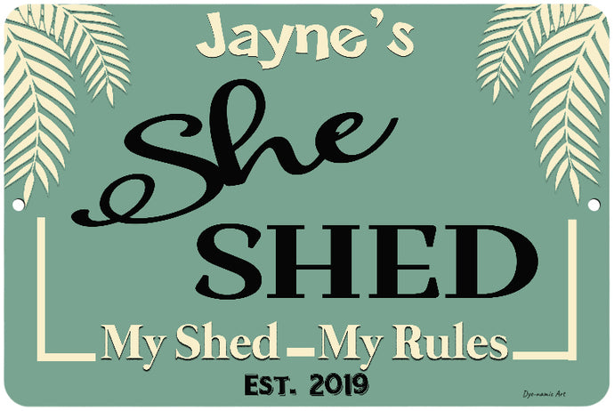 Dyenamic Art Personalized She Shed My Shed My Rules Sign - Lightweight Sign With Glossy Finish - Pre-Drilled Holes For Easy Mountings - Decorative Sign For Indoor & Outdoor - Made In USA