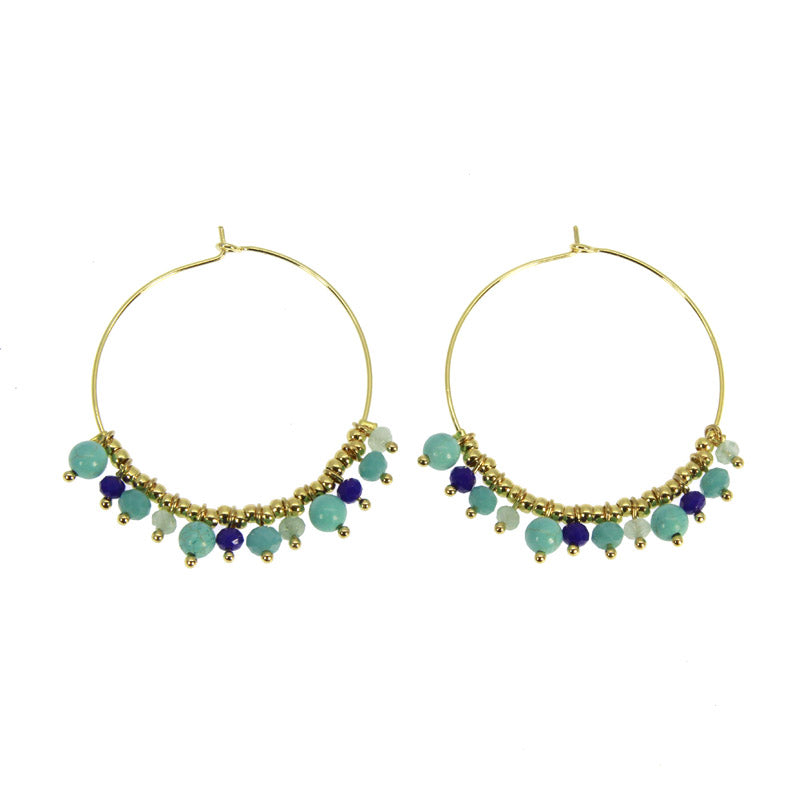 TURQUOISE MYRIADE HOOP EARRINGS