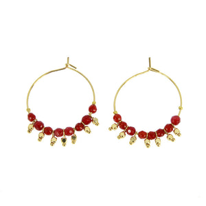 RED ETHNICA HOOP EARRINGS