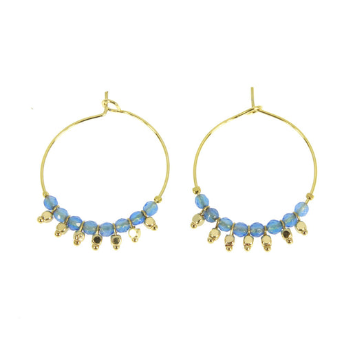 BLUE ETHNICA HOOP EARRINGS