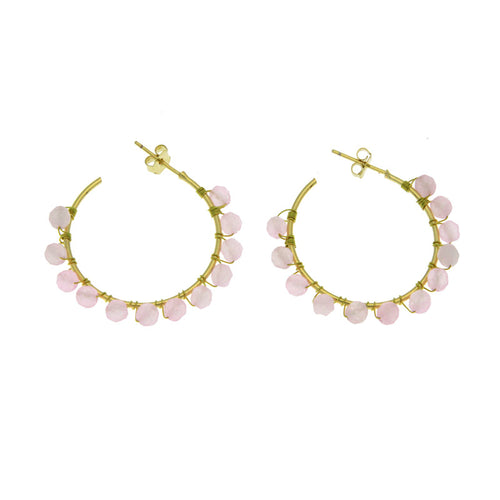 ROSE QUARTZ CREOLES BOHO HOOP EARRINGS