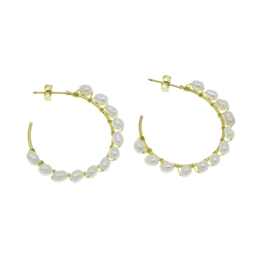 PEARL CREOLES BOHO HOOP EARRINGS