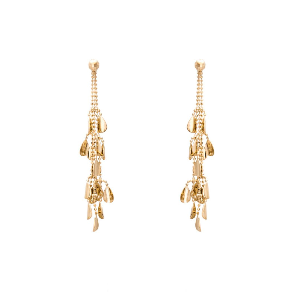 GOLD LEAF LOOP 9 CTDROP EARRING