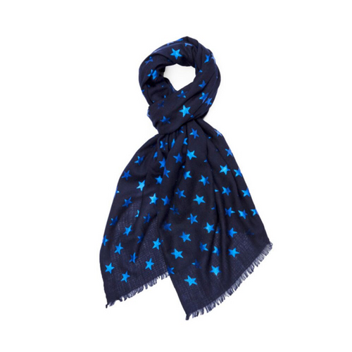 BLUE METALLIC ON NAVY STAR PASHMINA