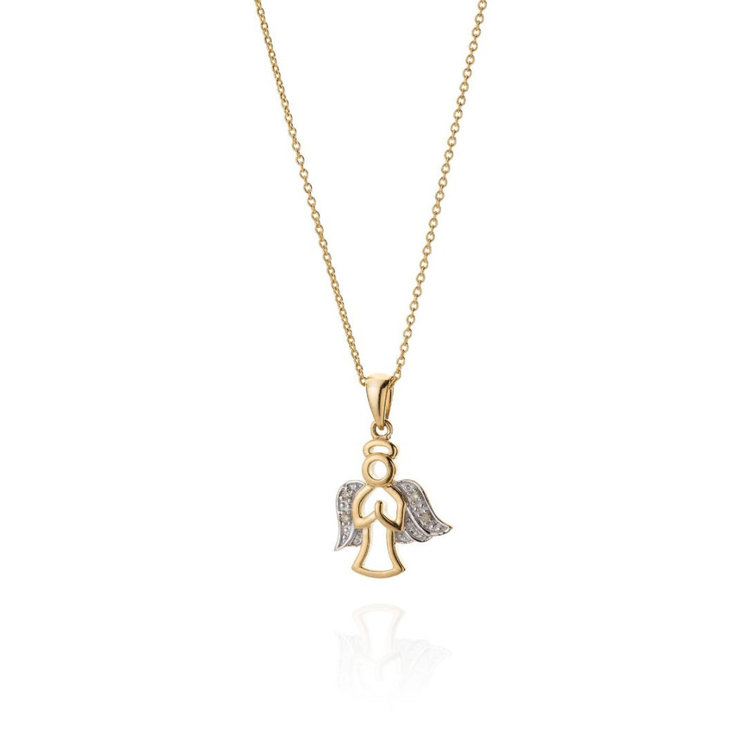 9ct Gold Angel Necklace with Diamond Detail