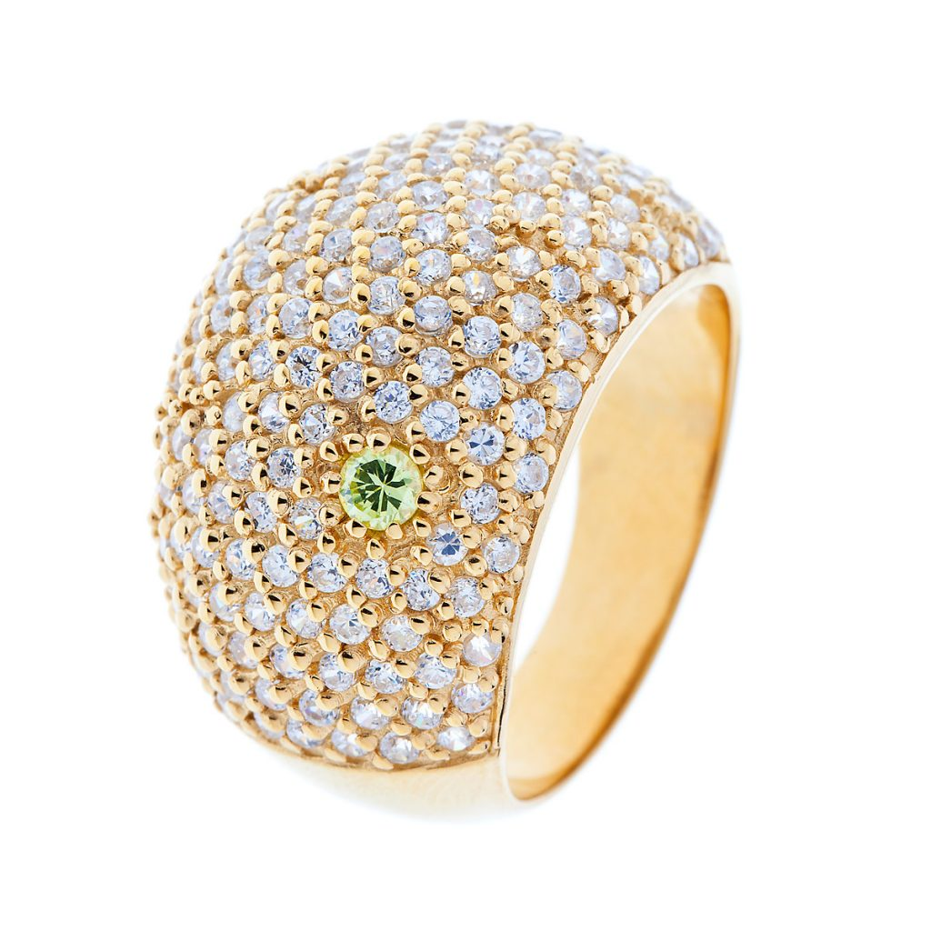 GOLD DIAMOND DETAILED RING, WITH GREEN CITRINE