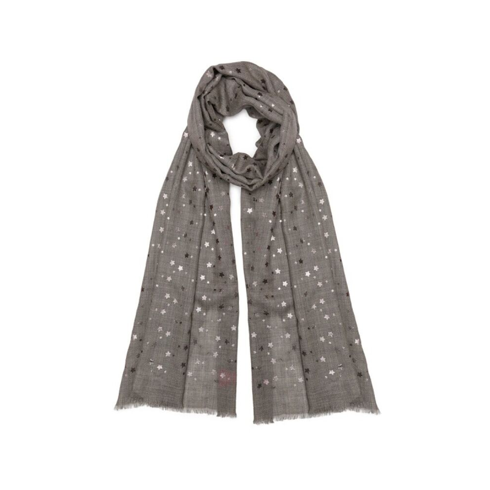 Metallic Silver (Mini) Star Pashmina - Grey
