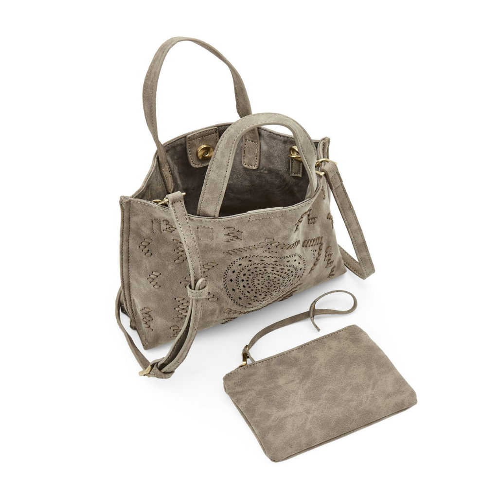 GREY MINI PERFORATED CROSS BODY TOTE