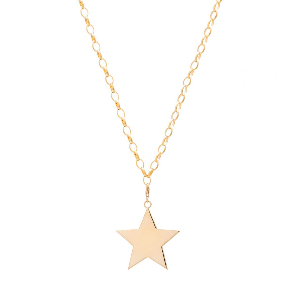 LARGE GOLD STAR PENDENT NECKLACE