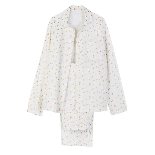 LONG COTTON PJ STAR SET – WHITE WITH GOLD STAR
