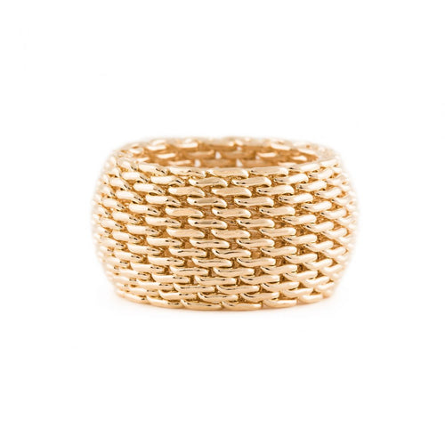Mesh Chain Ring - Gold