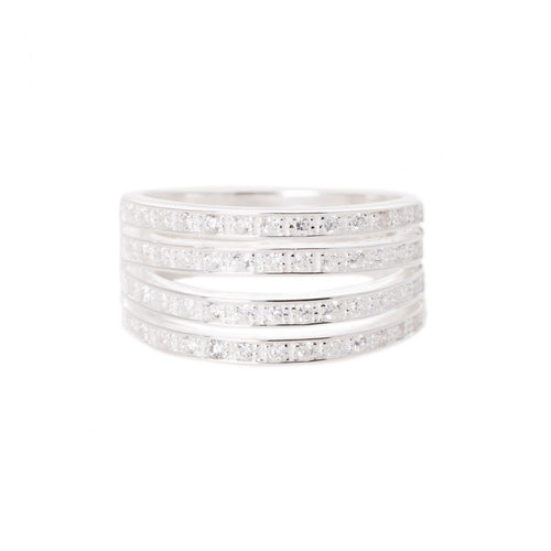 THREE BAND SILVER RING, WITH ZIRCONIA