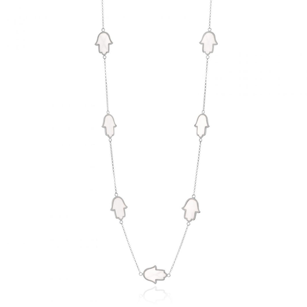 WHITE ENAMEL GOLD CHAKRA CHAIN NECKLACE