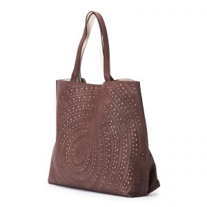 Mixed Laser Cut Tote - Brown / Ivory