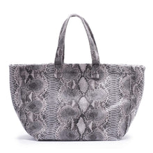 Load image into Gallery viewer, GREY SNAKE SKIN LARGE TOTE