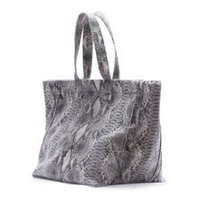 Load image into Gallery viewer, Faux Grey Snake Skin Large Tote