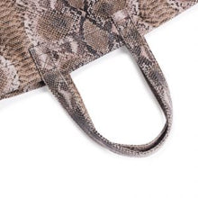 Load image into Gallery viewer, BROWN SNAKE SKIN LARGE TOTE
