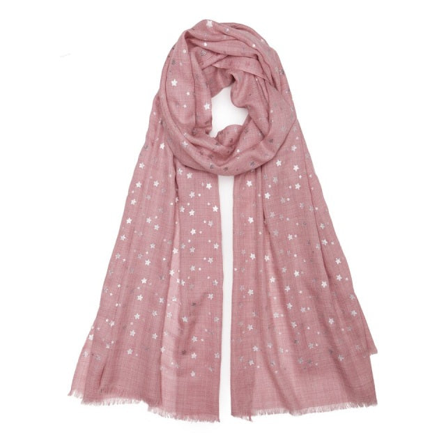 NATURAL PINK WITH SMALL SILVER STAR PASHMINA
