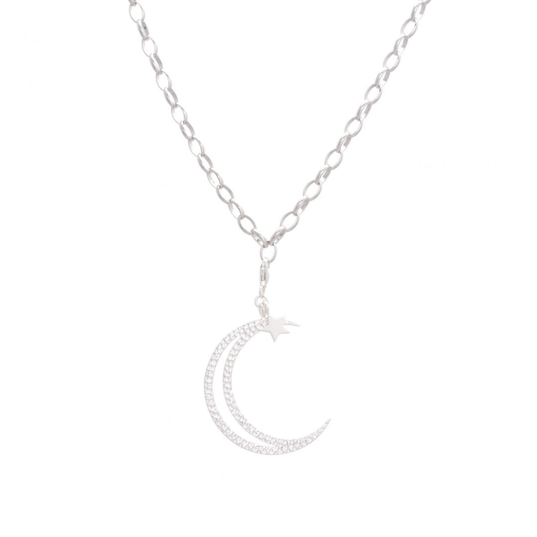 SILVER HAMMERED MOON PENDENT NECKLACE