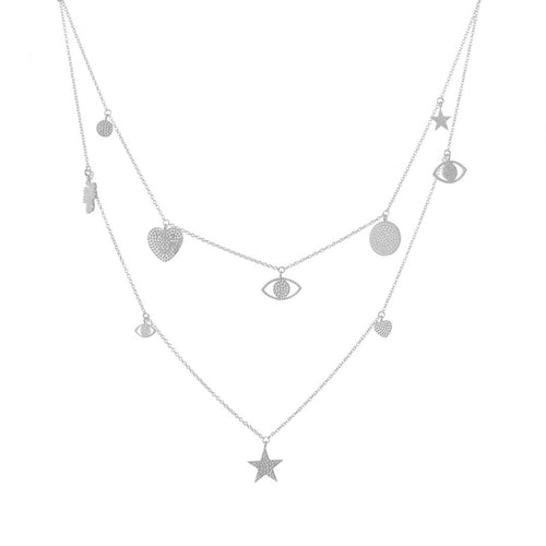 SILVER MUTI CHARM NECKLACE