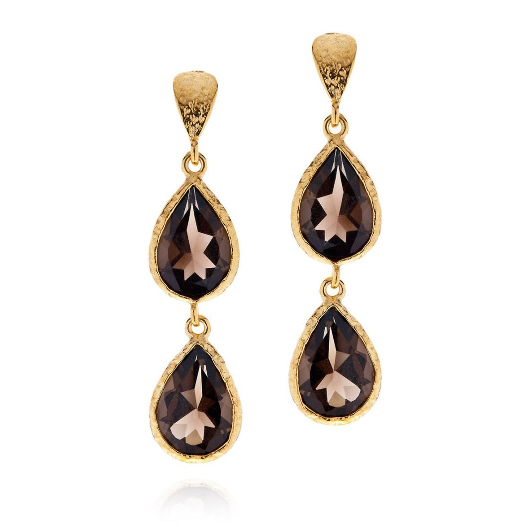 SMOKEY QUARTZ DETAILED GOLD DROP EARRINGS