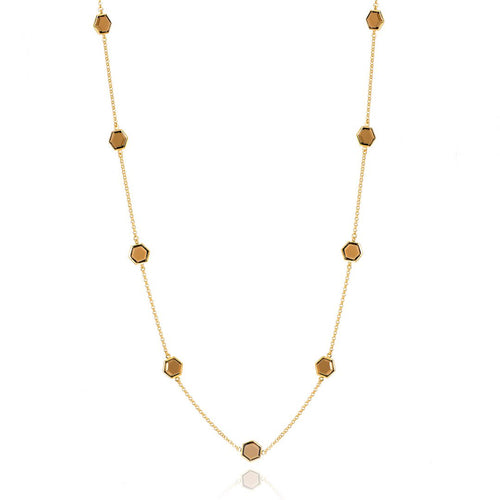 SMOKEY QUARTZ HEXAGONAL CHAIN NECKLACE