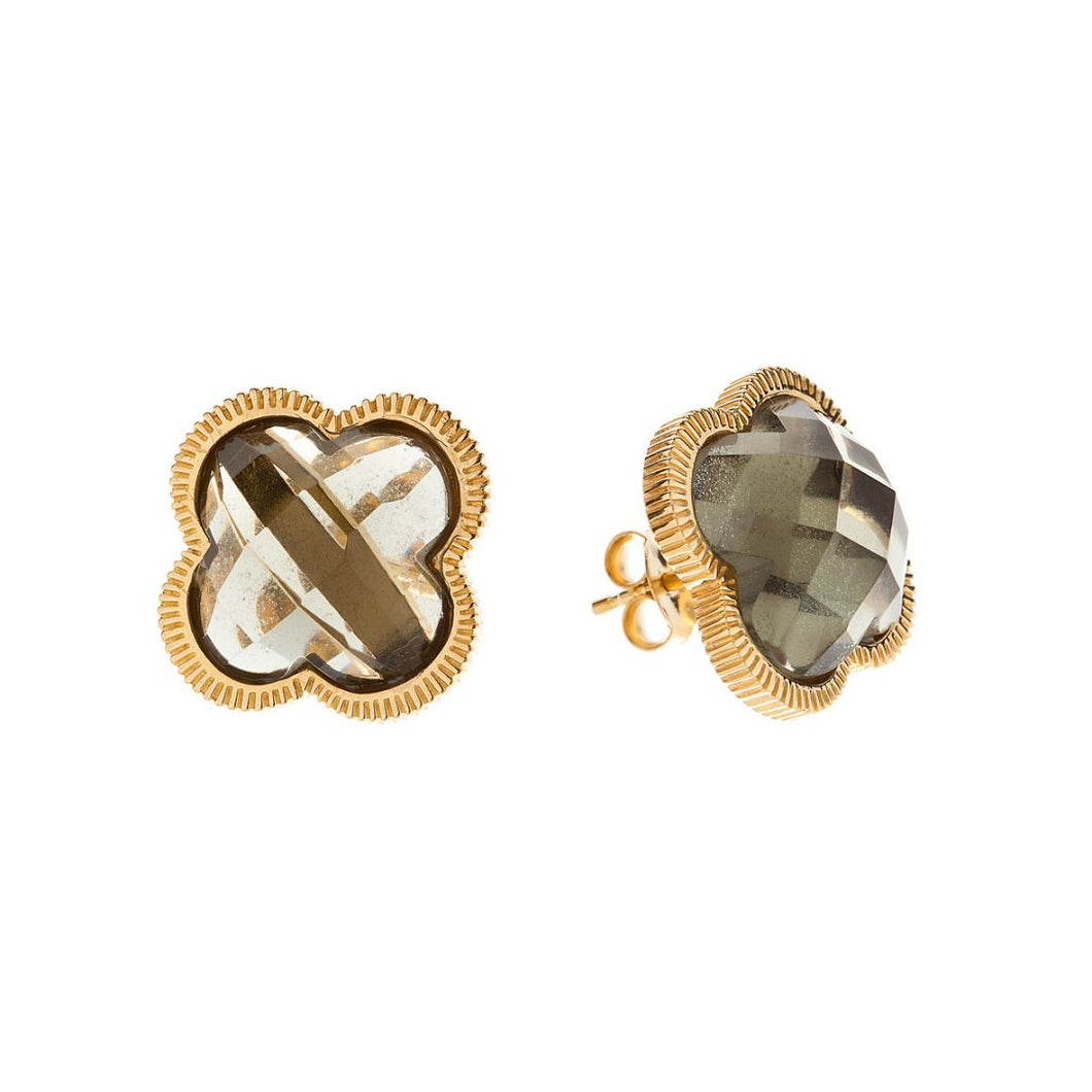 SMOKEY QUARTZ OF PEARL SHAMROCK STUDS