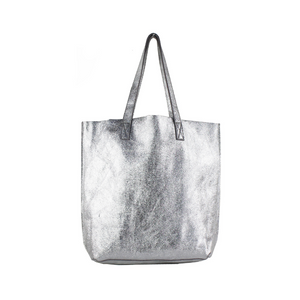 SILVER METALLIC LEATHER SHOULDER BAG
