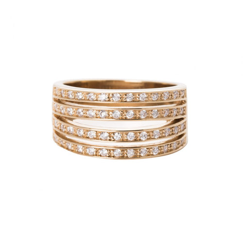 THREE BAND GOLD RING, WITH ZIRCONIA