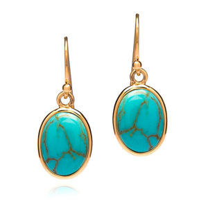 TURQUOISE DETAILED GOLD DROP EARRINGS