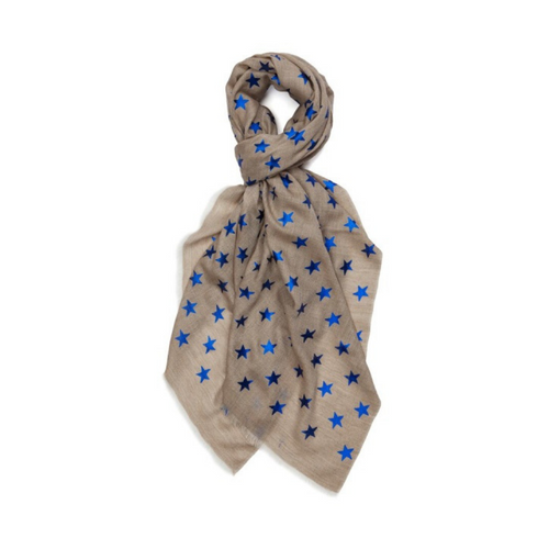 BEIGE ON BlUE STAR PASHMINA