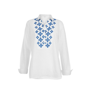 WHITE AND BLUE EMBROIDERED SHIRT