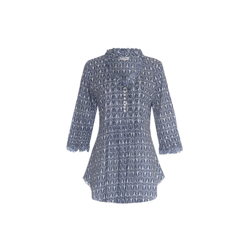 SOPHIE NAVY LEAF SHORT KAFTAN
