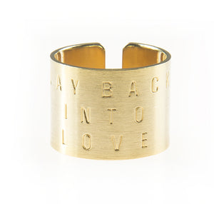 """WAYBACKINTOLOVE"" GOLD ENGRAVED RING"