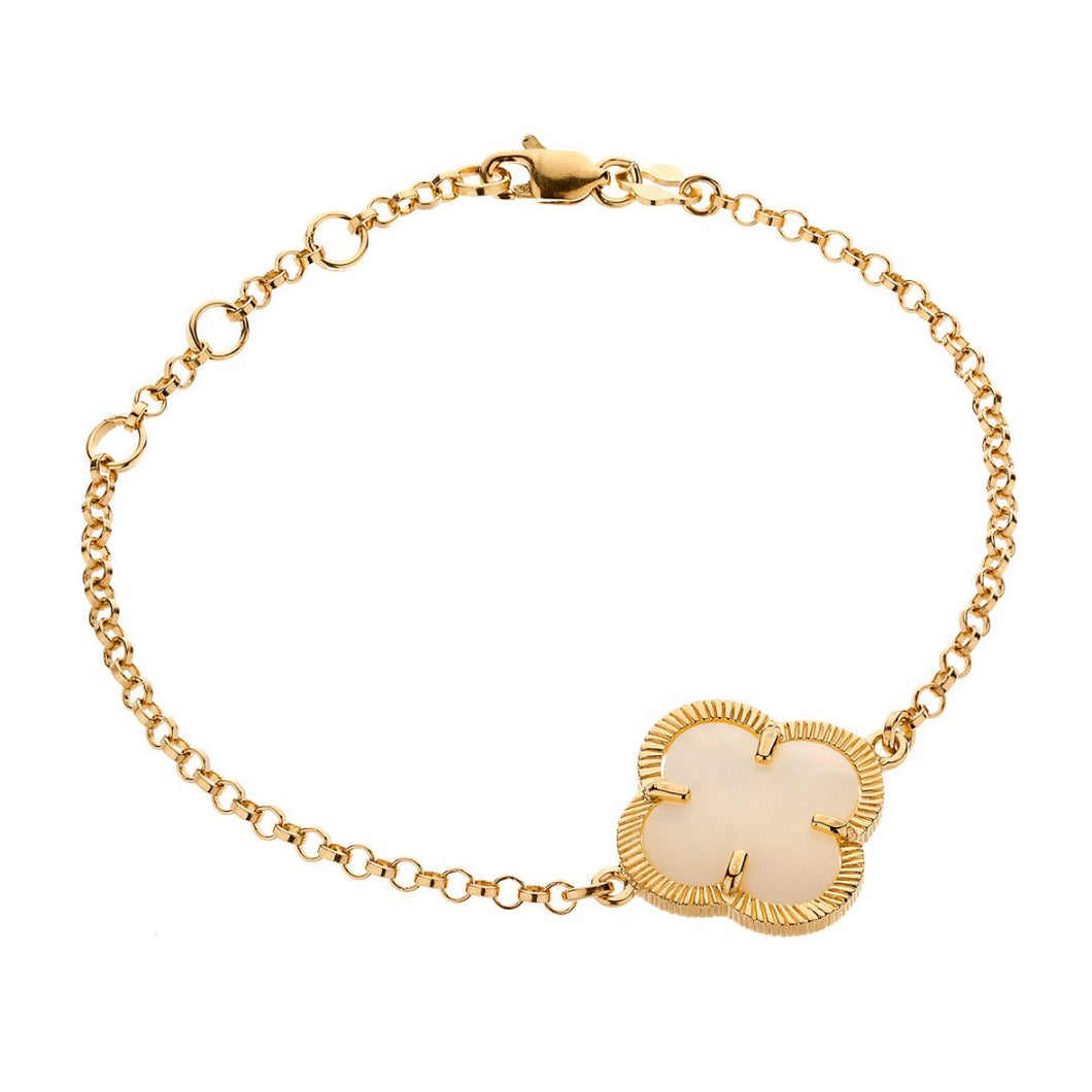 WHITE MOTHER OF PEARL GOLD SHAMROCK BRACELET