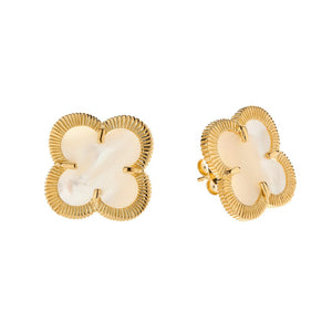 WHITE MOTHER OF PEARL SHAMROCK STUDS