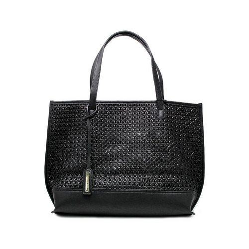 BLACK WEAVE TEXTURE PERFORATED TOTE