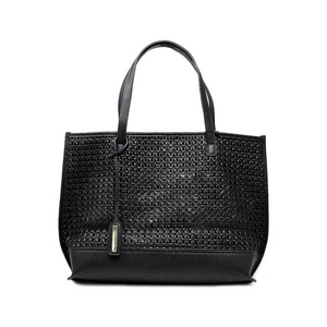 Black Weaved Perforated Tote