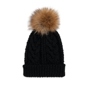 Black Cable Knit Pom Hat