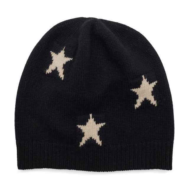 Black and Cream Star Beanie
