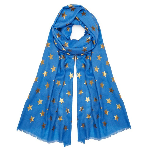 Metallic Gold Star Pashmina - Blue