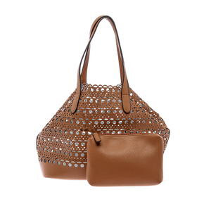 BROWN LASER CUT BASKET TOTE