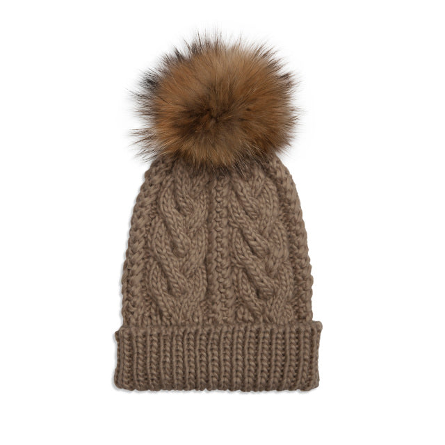Taupe Cable Knit Pom Hat