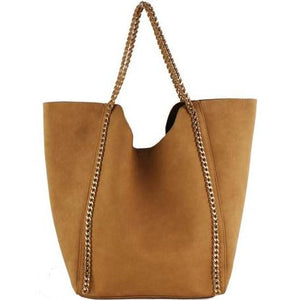 Brown Chain Trim Tote