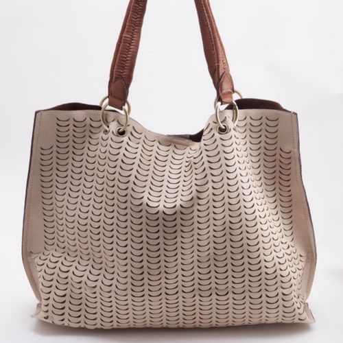 IVORY/GREY PERFORATED TOTE WITH BRAIDED HANDLE