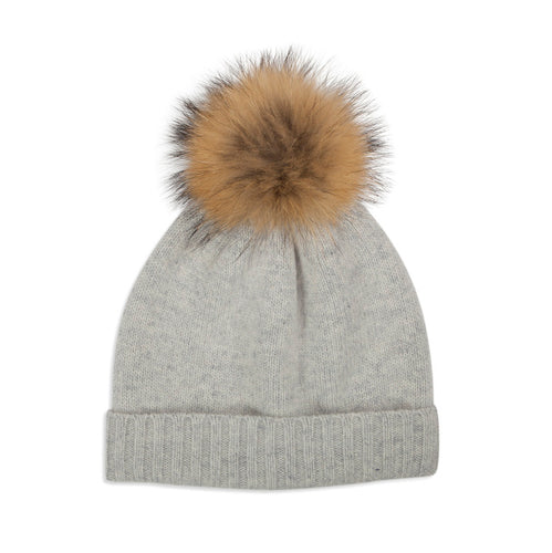 Grey Cashmere Knit Pom Hat