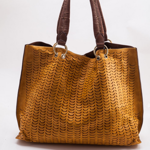 MUSTARD PERFORATED TOTE WITH BRAIDED HANDLE