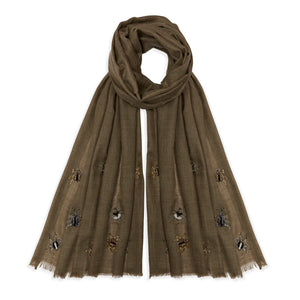Jewelled Nature Pashmina - Khaki