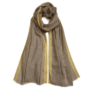 Golden Detailing Pashmina - Natural